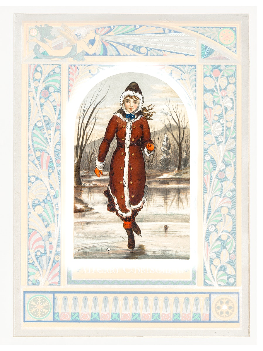 Christmas Card Depicting Woman Ice-Skating (1865–1899) by L. Prang & Co. Original from The New York Public Library.…