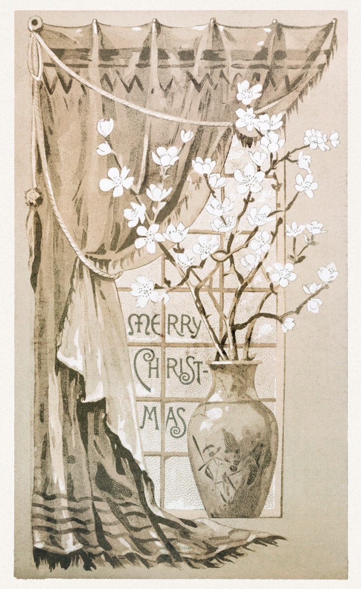 Christmas Card Depicting a Vase of Flowers (1865–1899) by L. Prang & Co. Original from The New York Public Library.…