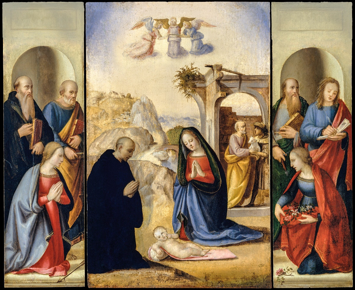 The Nativity with Saints by Ridolfo Ghirlandaio (1483–1561). Original from The MET Museum. Digitally enhanced by…
