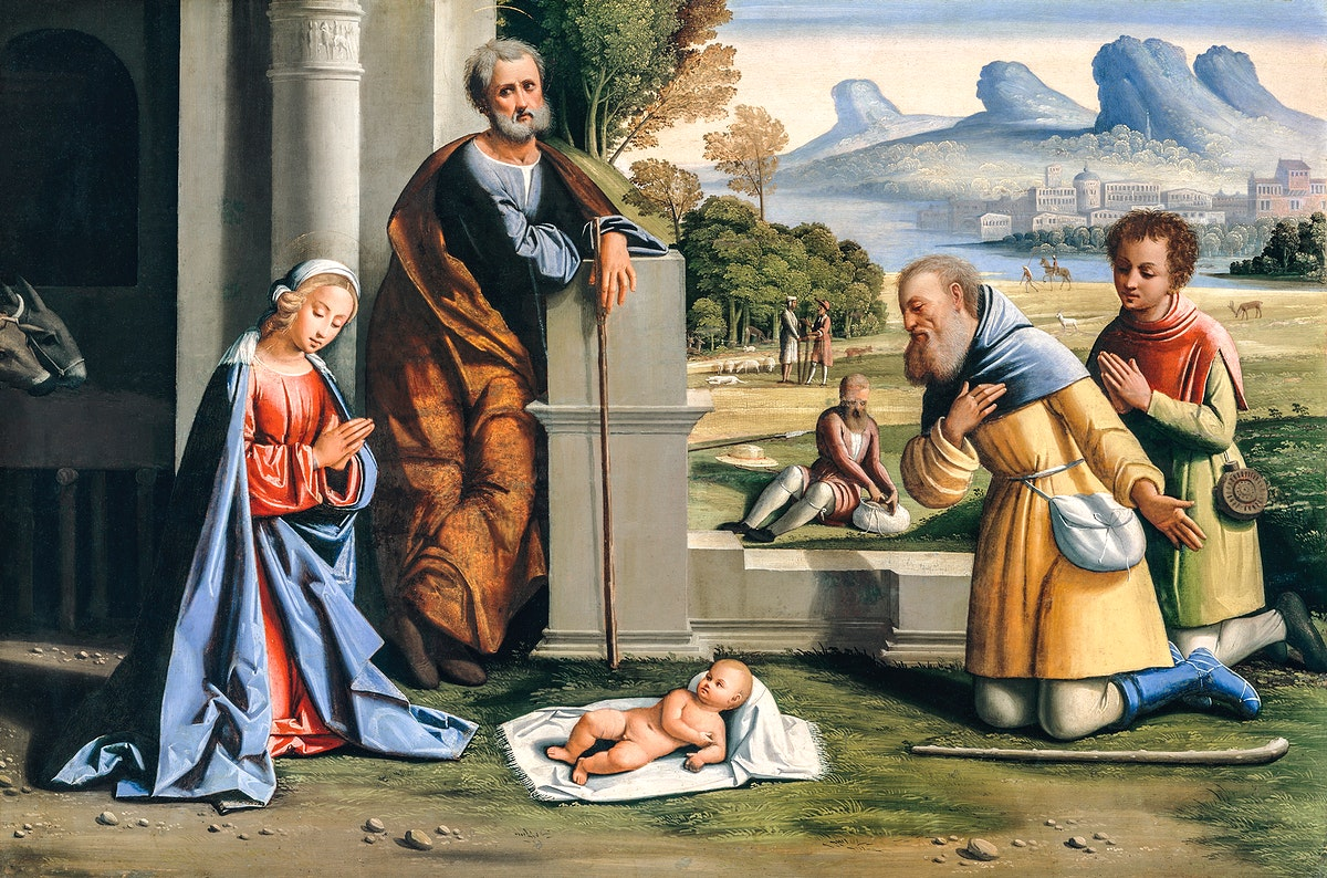 The Adoration of the Shepherds by L'Ortolano (Giovanni Battista Benvenuti) (1512–died after 1527). Original from The…