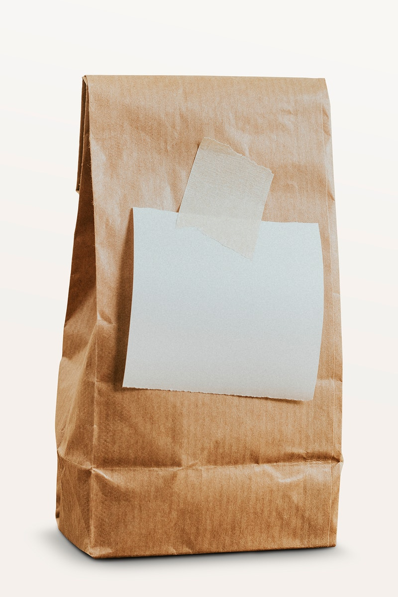 Brown paper bag with a white notepaper mockup