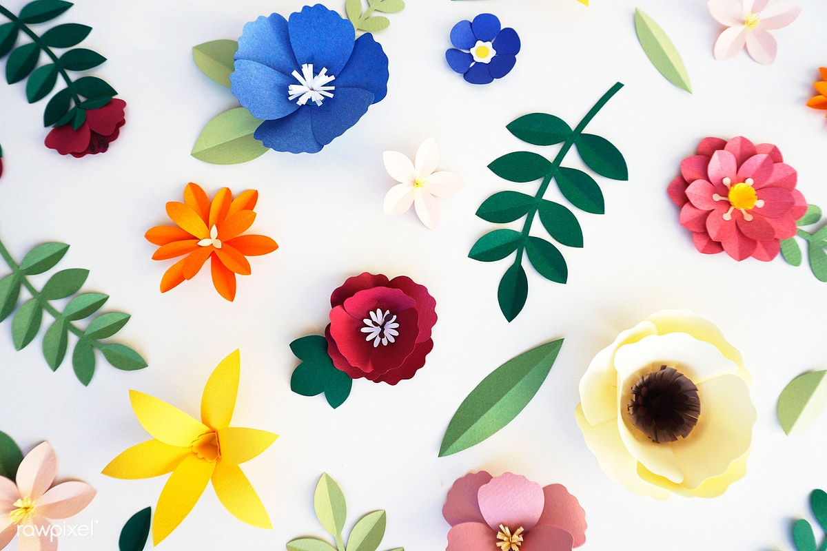 Set Of Flowers And Plants Made Out Of Paper Royalty Free Stock