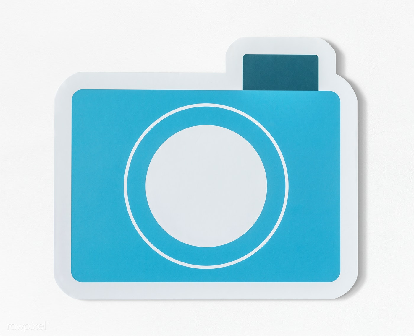 icon of blue paper camera royalty free stock psd mockup 402529