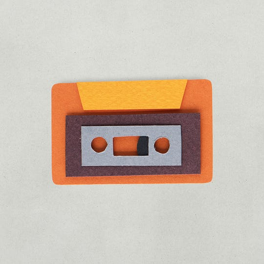 Paper craft design of tape cassette icon
