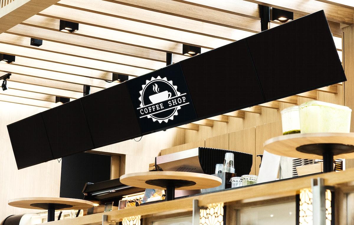 Long mockup sign for menu in a cafe