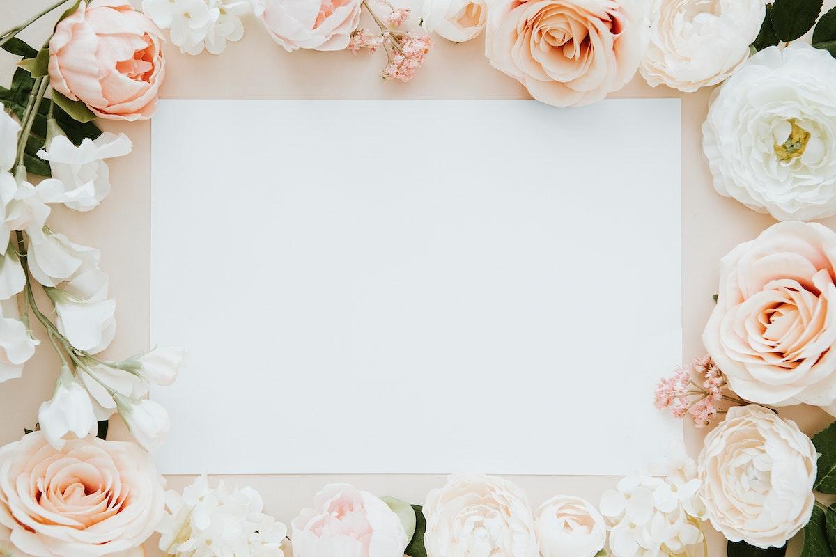 Blank card on flowers template mockup