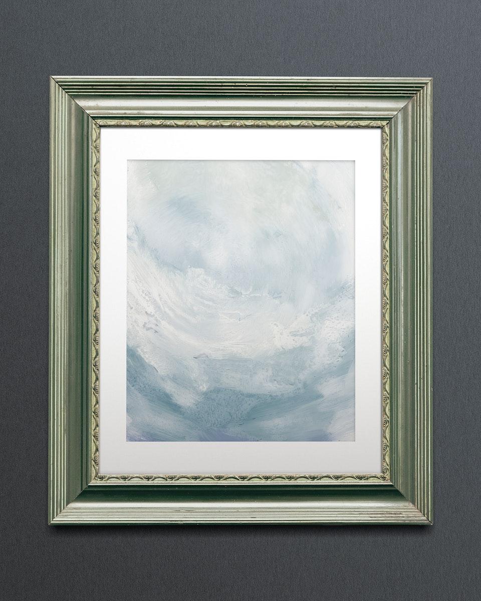 Green picture frame mockup illustration