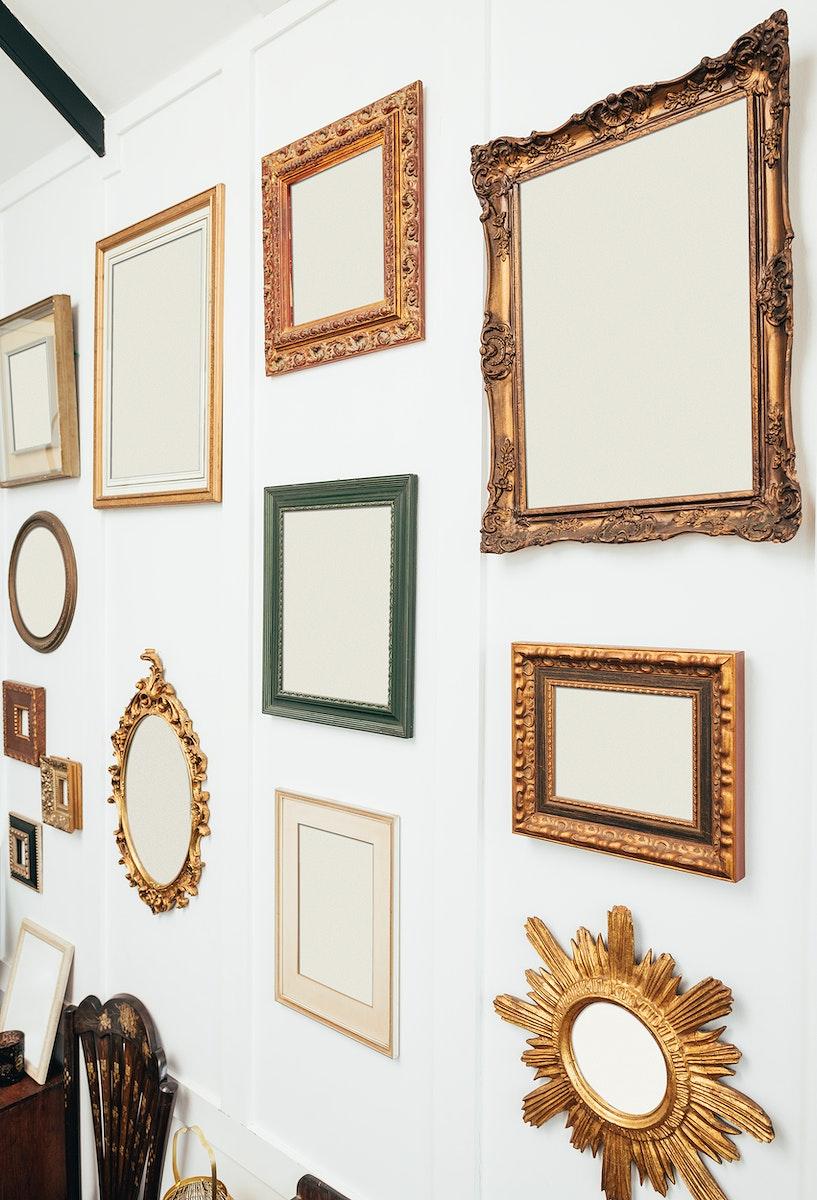 Vintage gold picture frames mockup set illustration