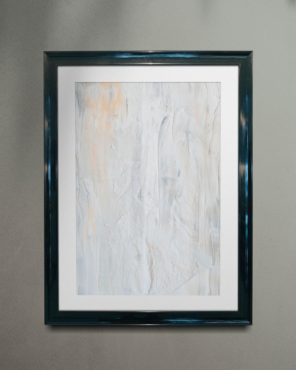 Metallic blue picture frame mockup illustration