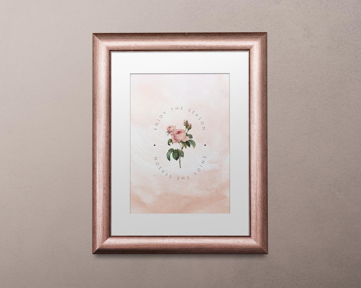 Metallic pink picture frame mockup illustration