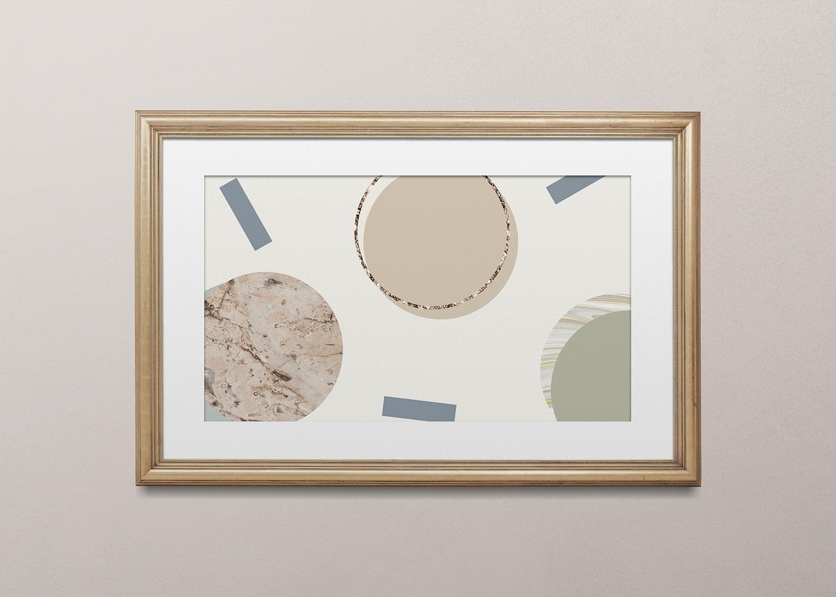 Wooden picture frame mockup illustration