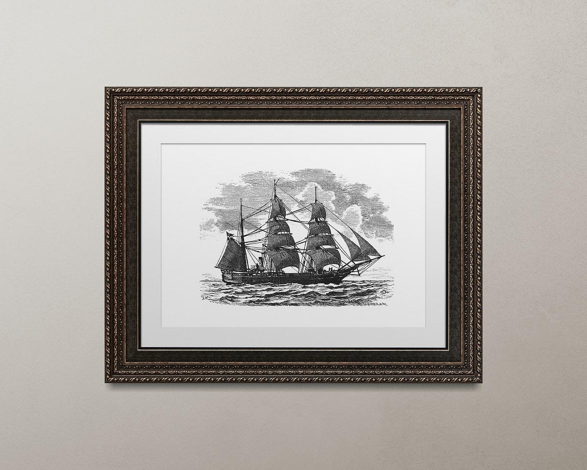 Metallic brown picture frame mockup illustration