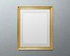 Gold picture frame mockup illustration