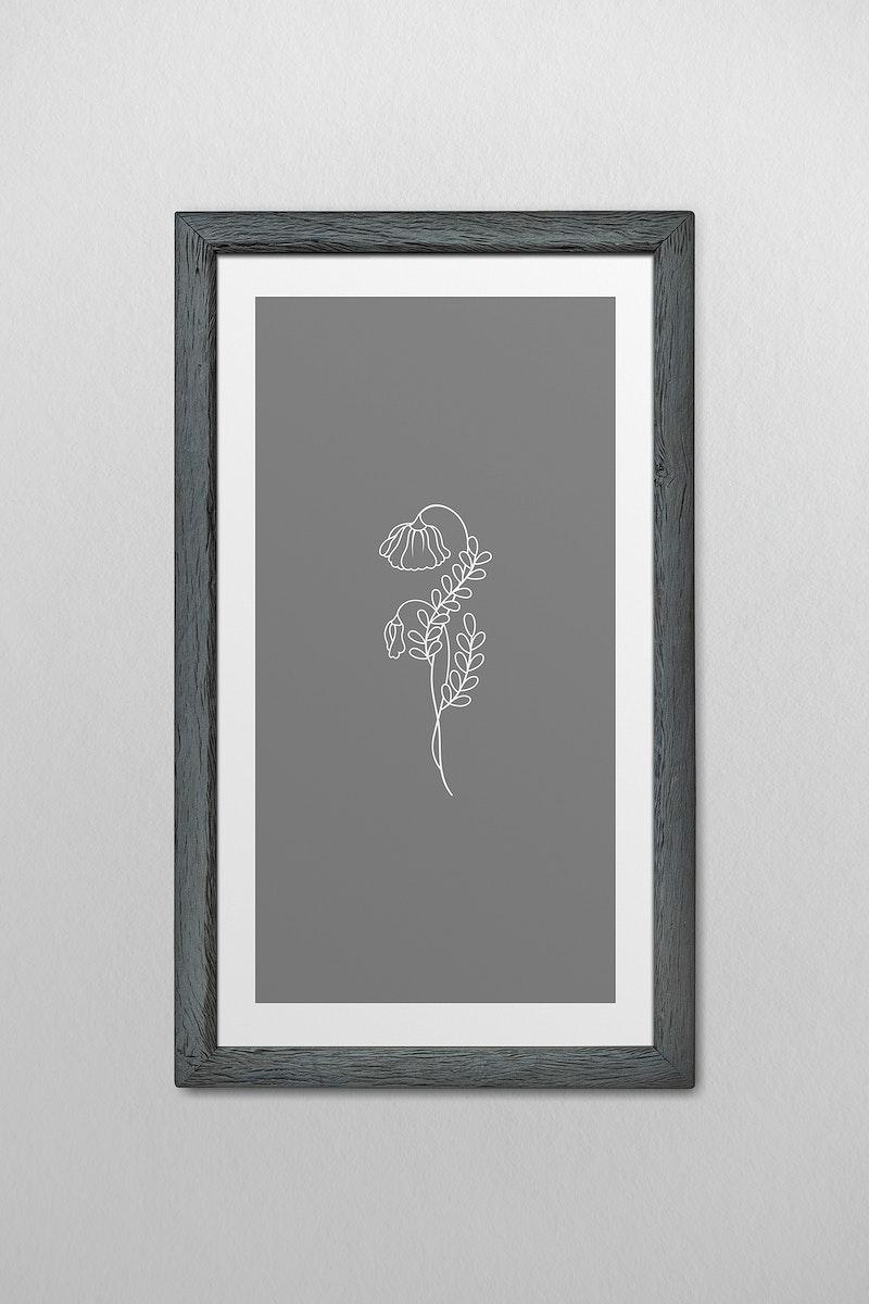 Gray picture frame mockup illustration