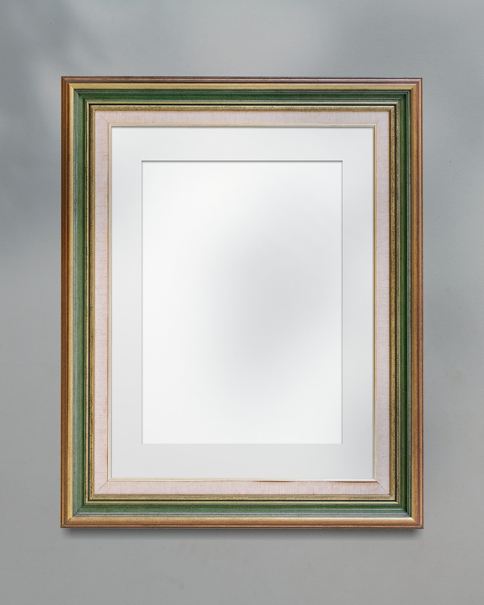 Brown and green picture frame mockup illustration
