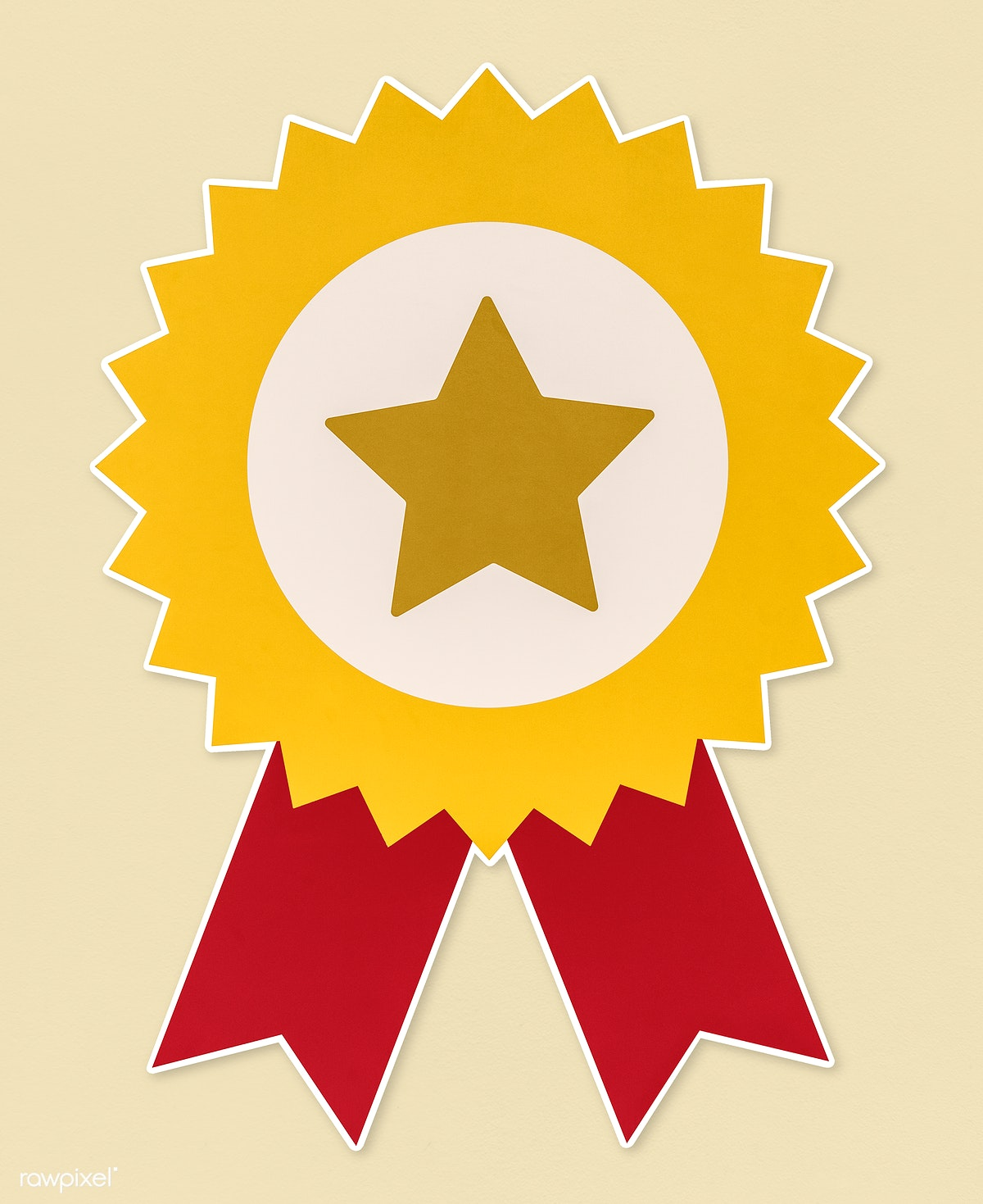 Download premium image of Golden star prize badge with red ribbons 514491
