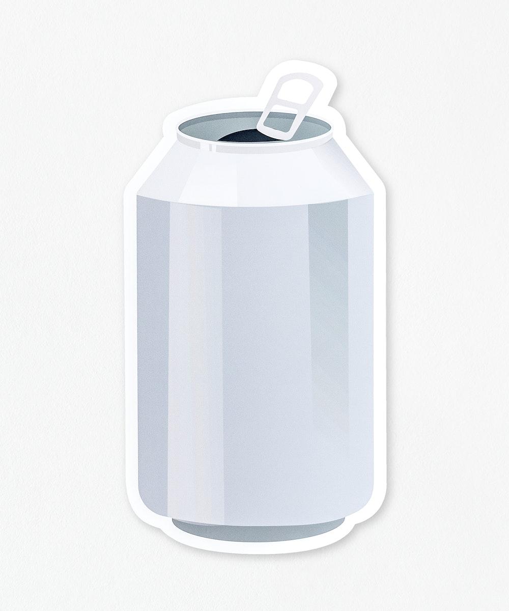 Open aluminum beverage can mockup