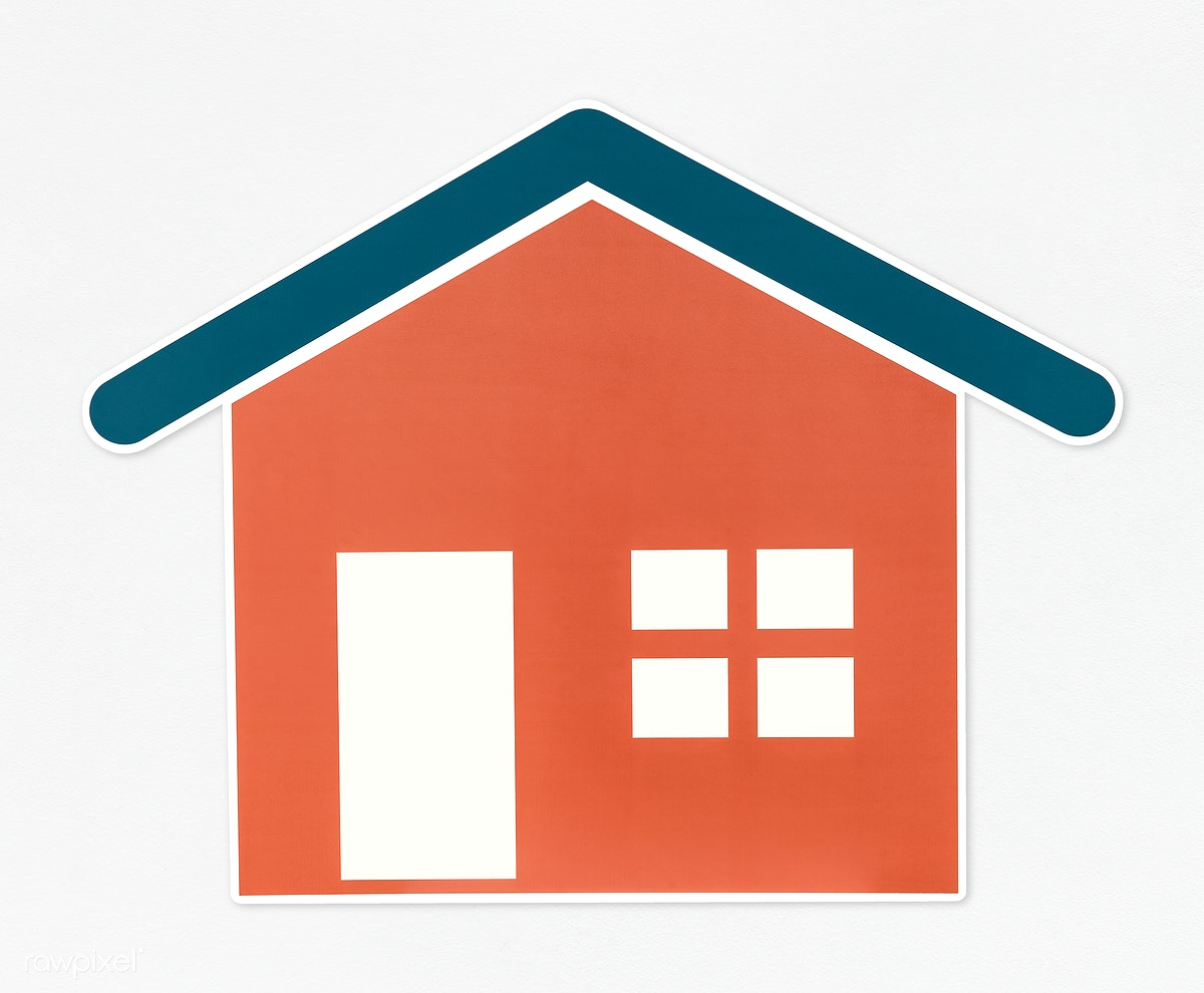 Orange House With Blue Roof Icon Royalty Free Stock Psd Mockup