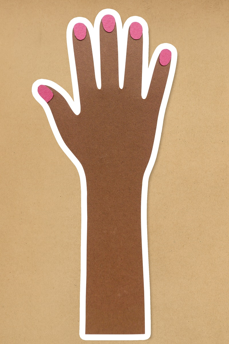 Hand with pink nails paper craft sticker