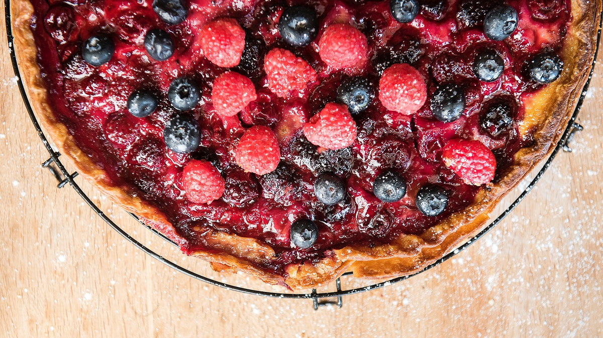 Homemade berry pie on a wooden table