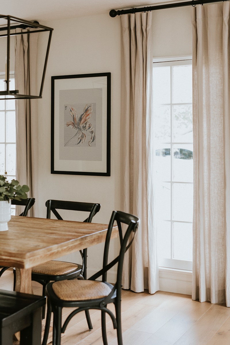Interior decor with floral art frame on a wall