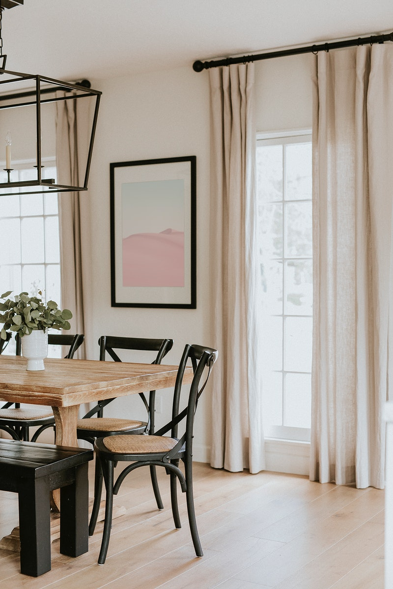 Bright dining room with wooden table