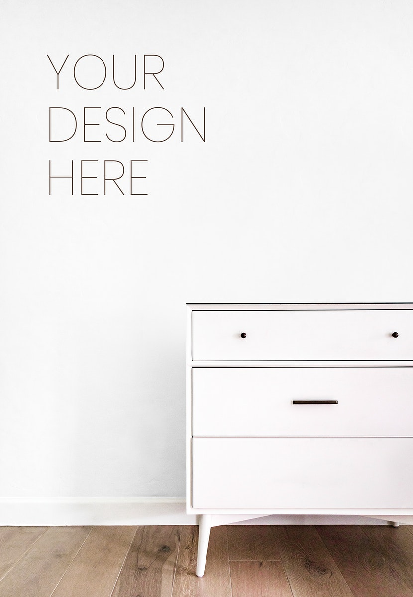 Drawer against a white wall mockup