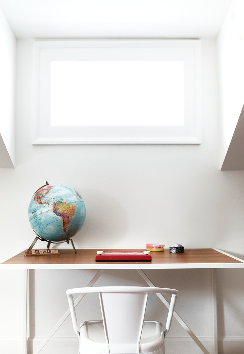 Magnetic drawing board on a wooden table