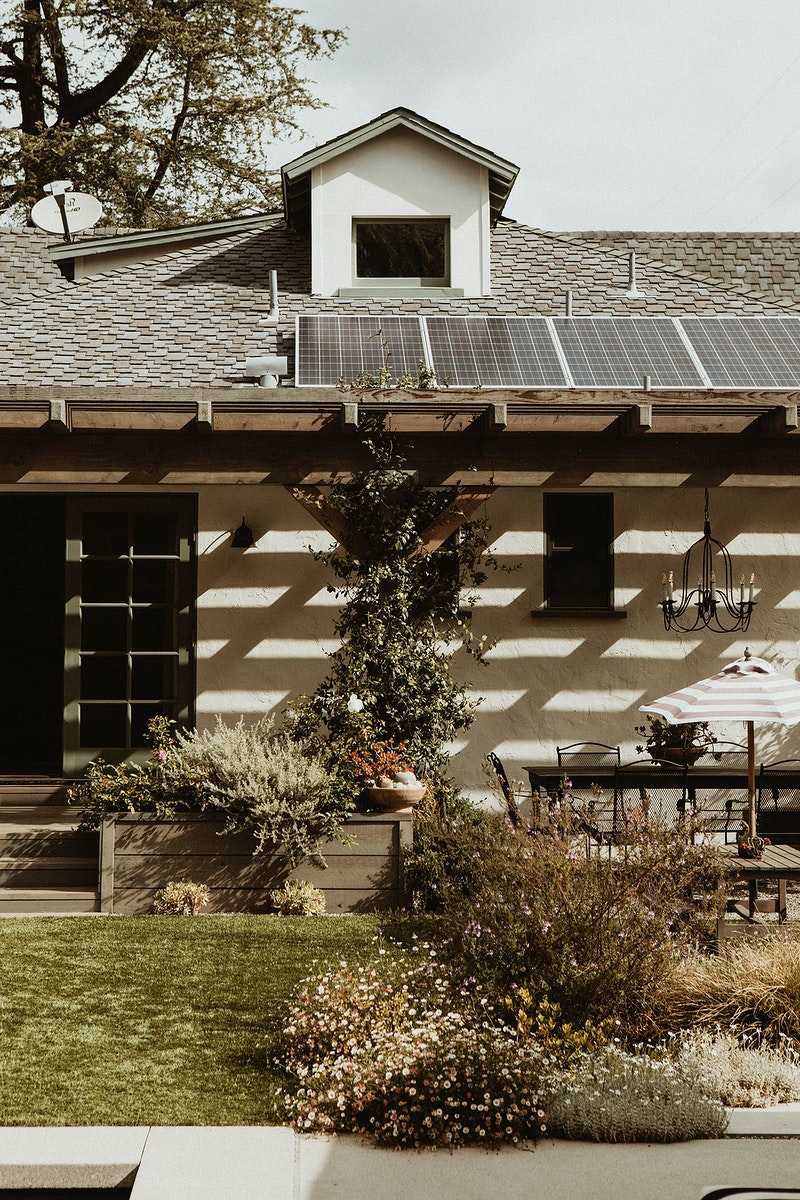 Beautiful garden with renewable energy