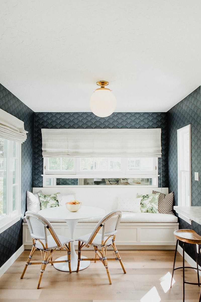 Blue and white minimal home decor