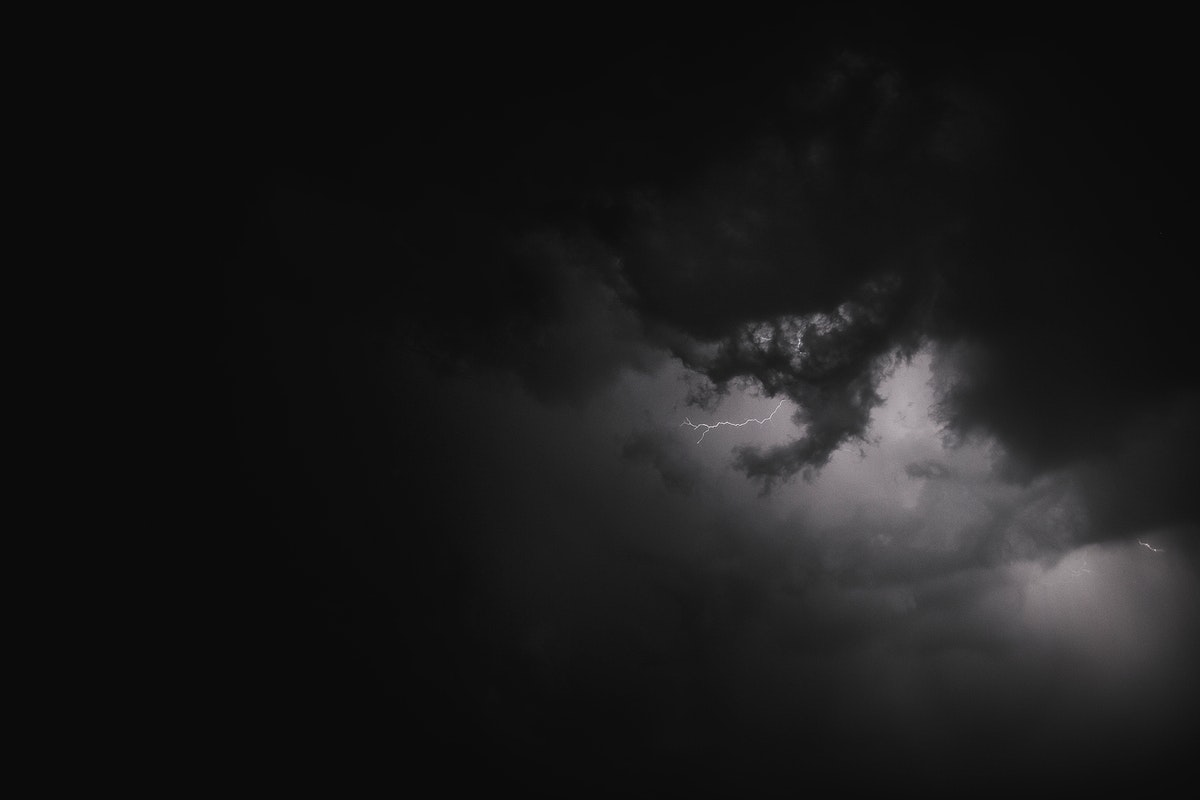 Stormy night sky in the countryside banner