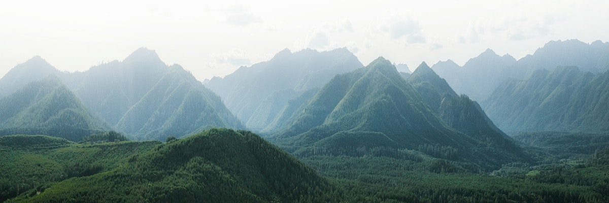 Misty green mountain ranges in China