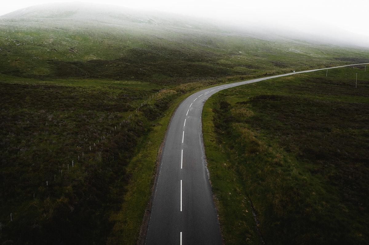 Misty scenic route in Scotland
