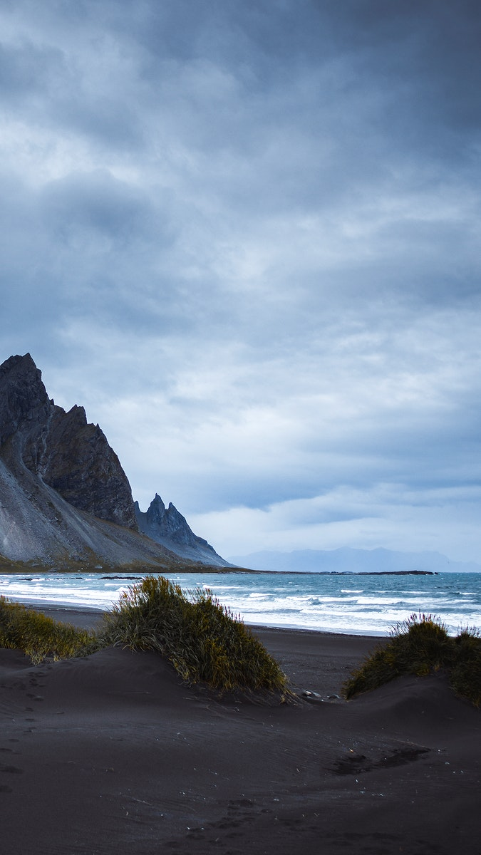 Icelandic Black Sand Beach Phone Wallpaper Royalty Free Photo 1234759