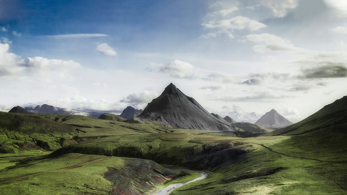 View of volcanic region in Icelandic Highlands, Iceland