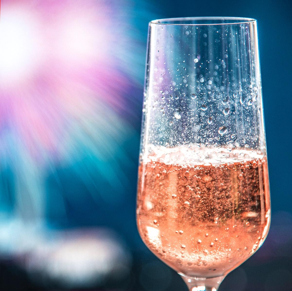 Glass of rose sparkling wine