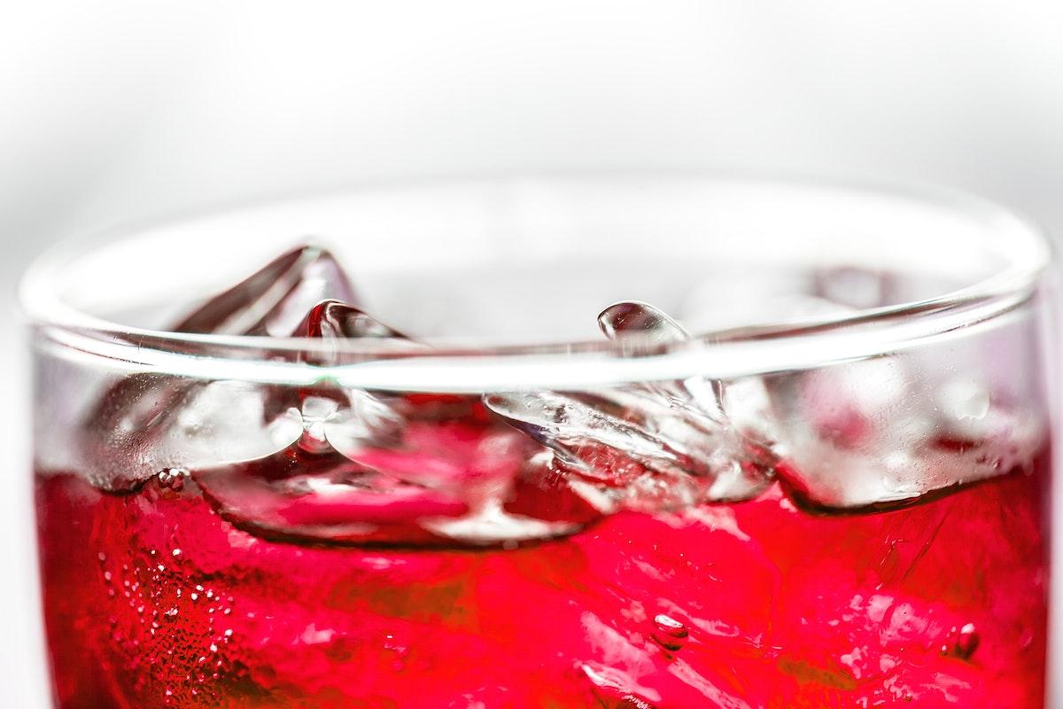 Red soda drink macro shot