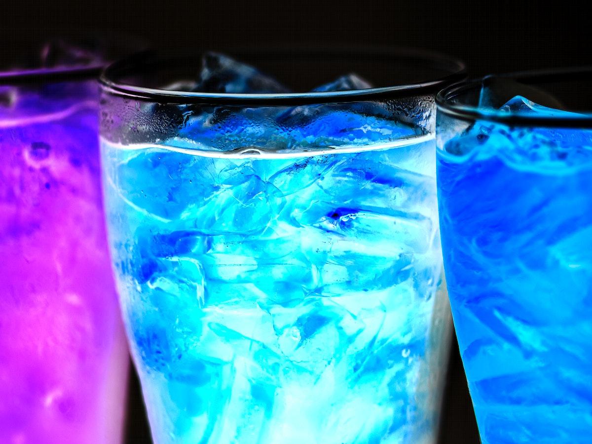 Blue soda drinks macro shot