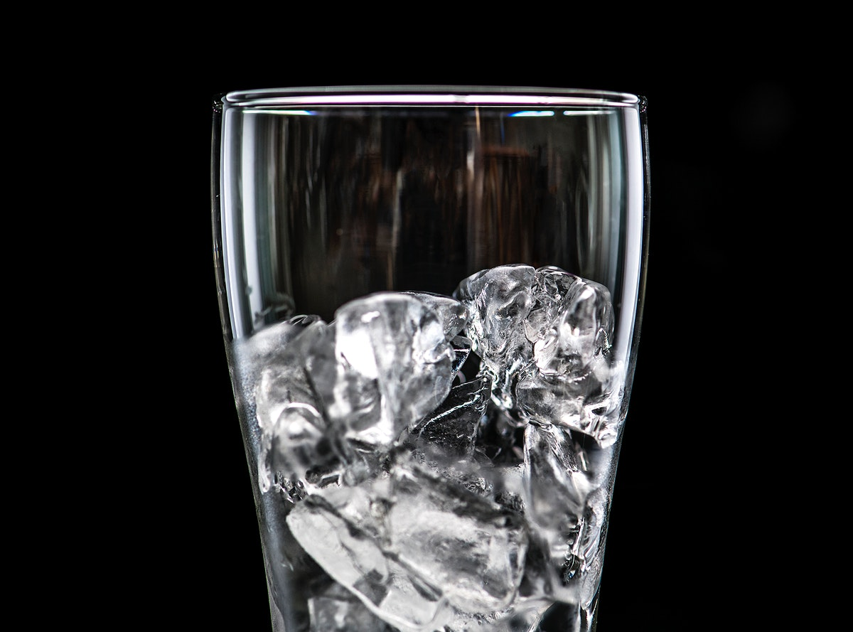 Glass with ice macro shot