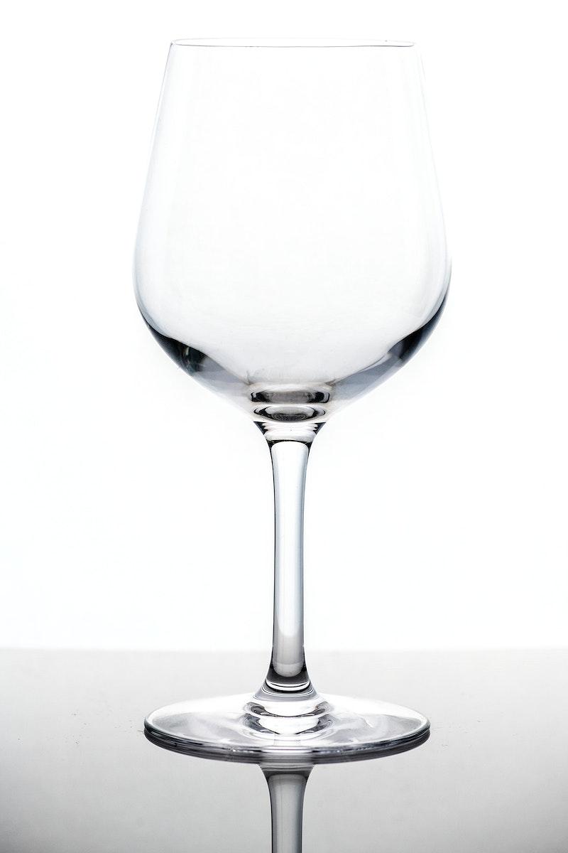 Empty wine glass macro shot