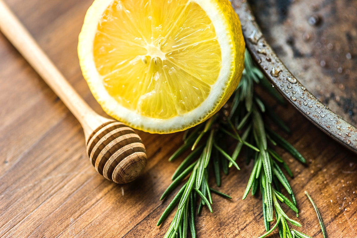 Closeup of lemon and rosemary