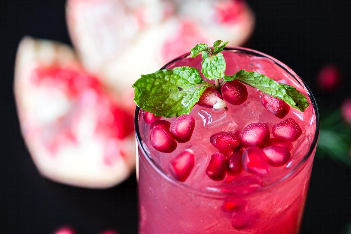 Fresh pomegranate juice macro shot