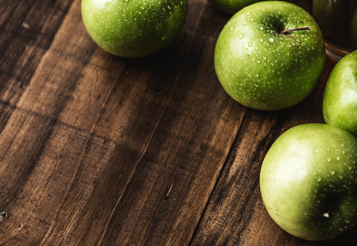 Closeup of fresh organic green apples