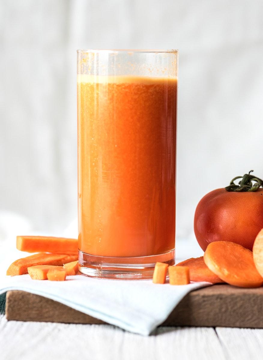 Fresh carrot juic macro shot