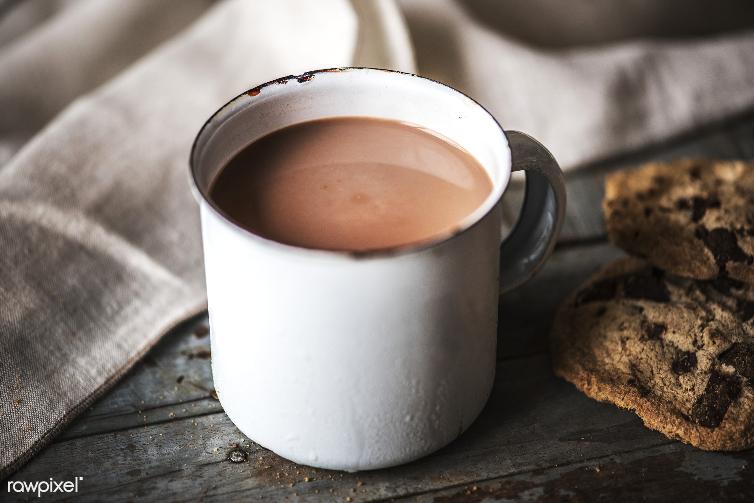 Hot chocolate with chocolate chip cookies - baked, beverage, biscuit, brown, cacao, cc0, chip, chocolate, chocolate chip,...