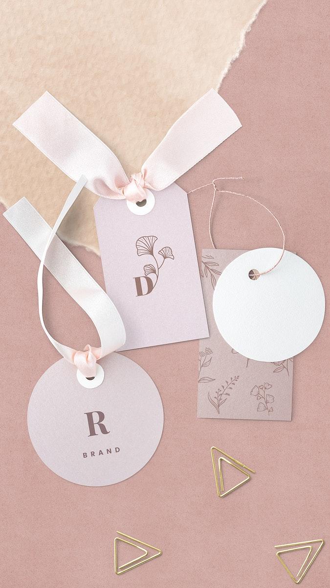 Pink floral design label mockup