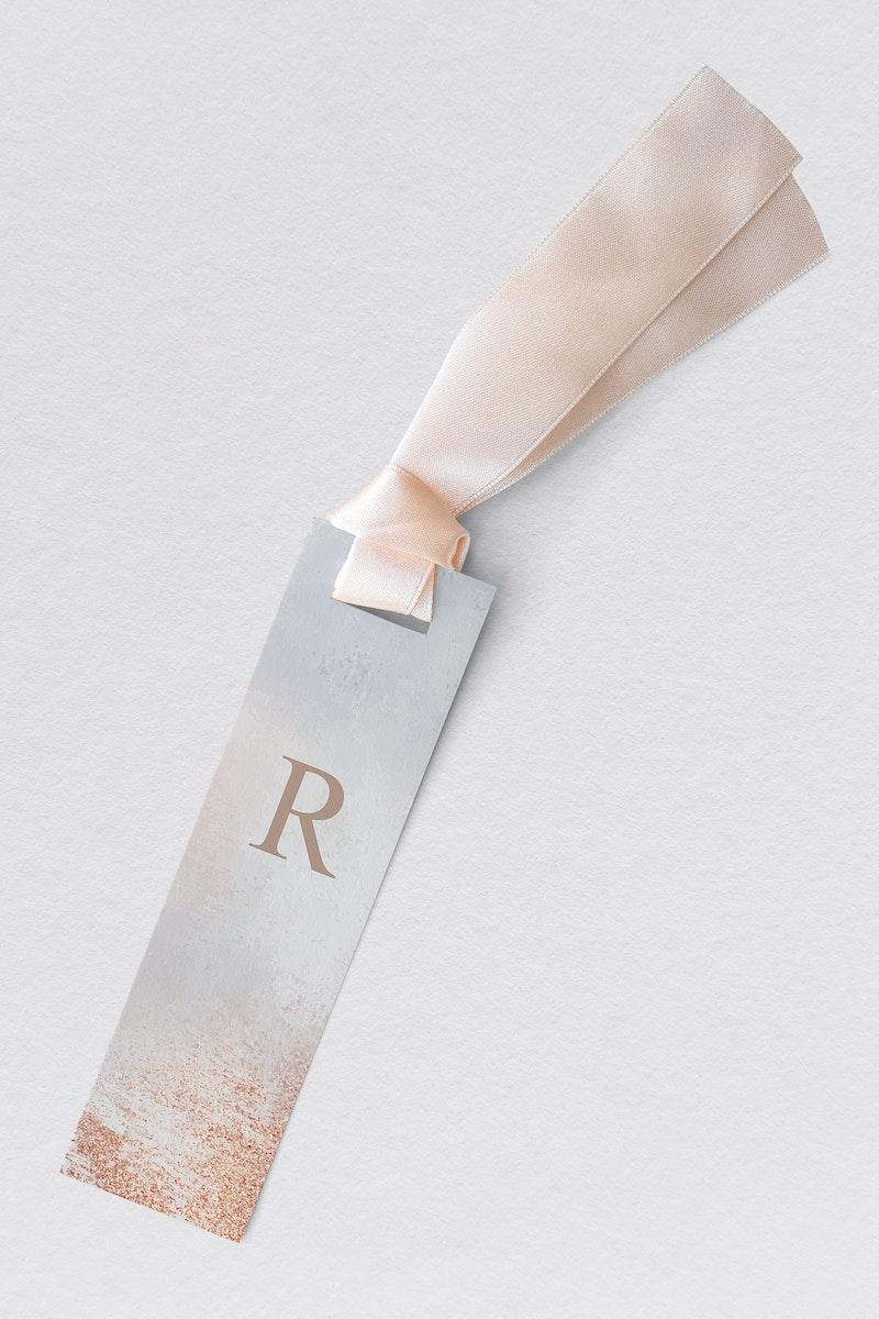 Pink glitter R design label mockup