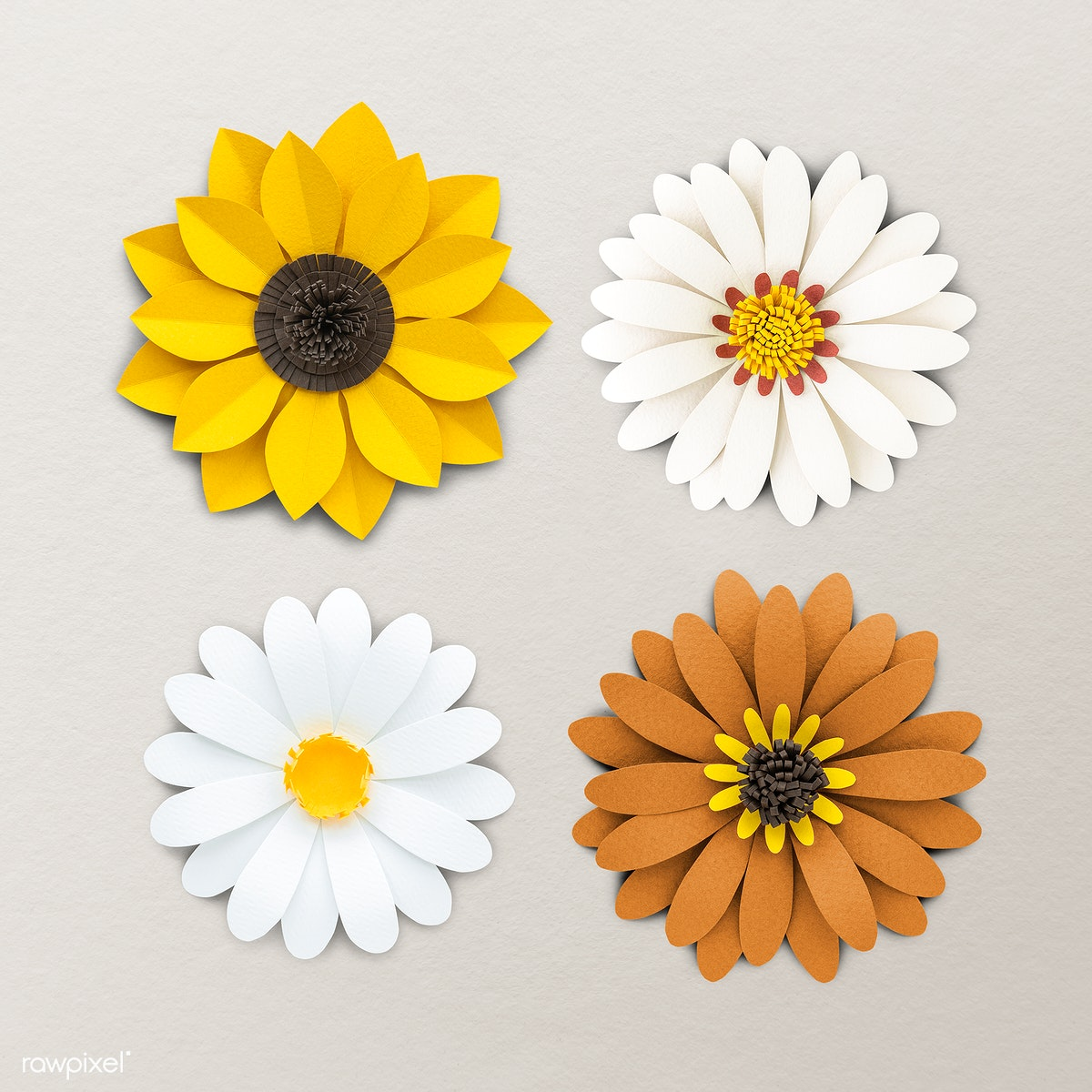 Download Premium Psd Of White And Yellow Flower Paper Craft Set 1202479