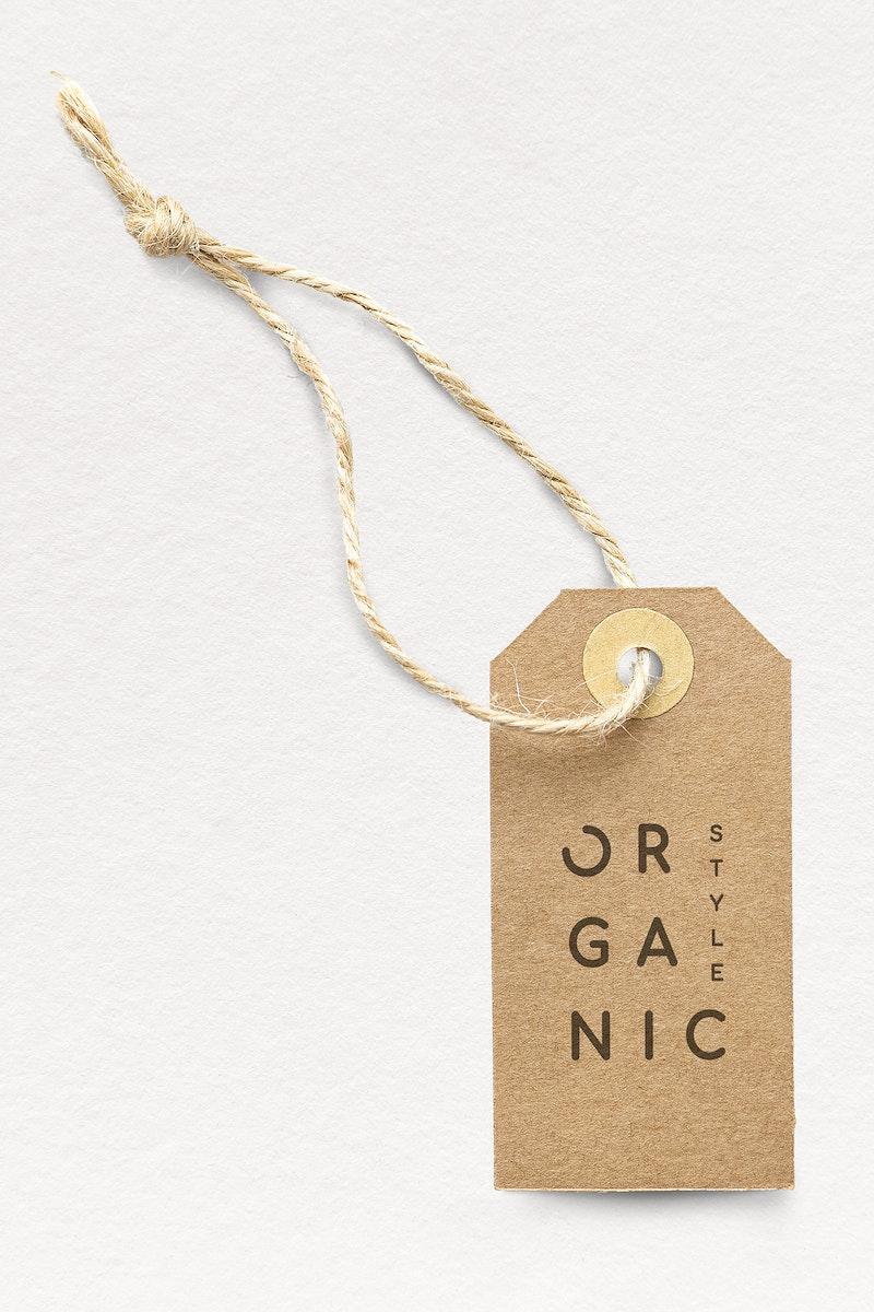 Brown organic style label mockup