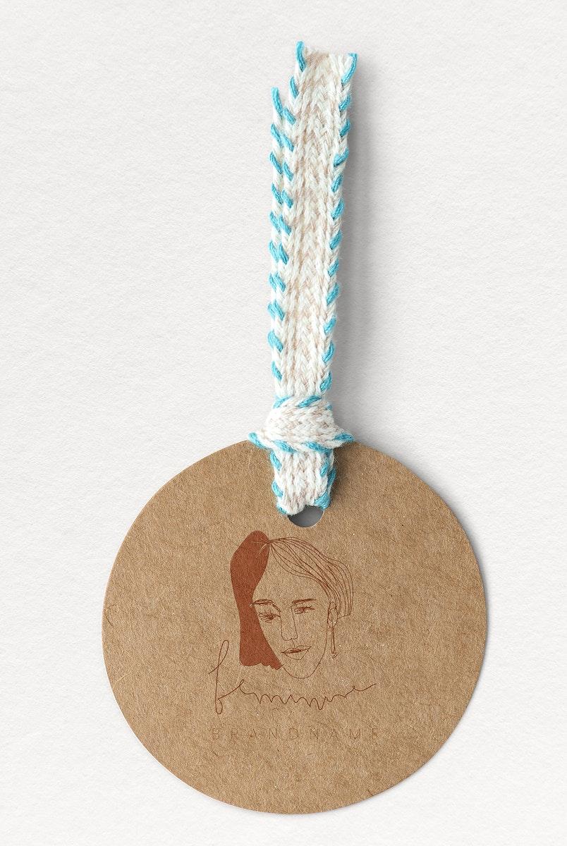 Round brown feminine label mockup